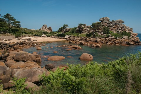 pink granite rocks granit rose coastal trail Brittany